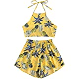July A Women's 2 Piece Outfits Halter Sleeveless Crop Cami Top and Shorts Set Yellow L