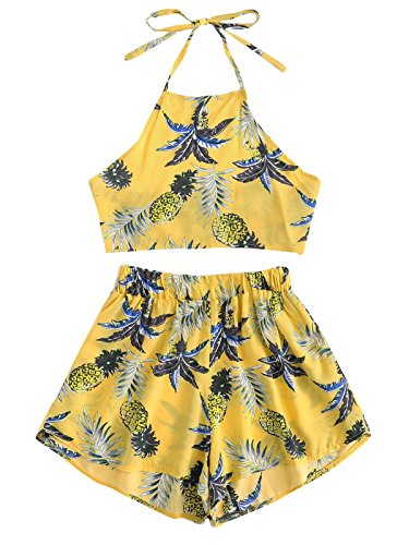 July A Women's 2 Piece Outfits Halter Sleeveless Crop Cami Top and Shorts Set Yellow S by July A