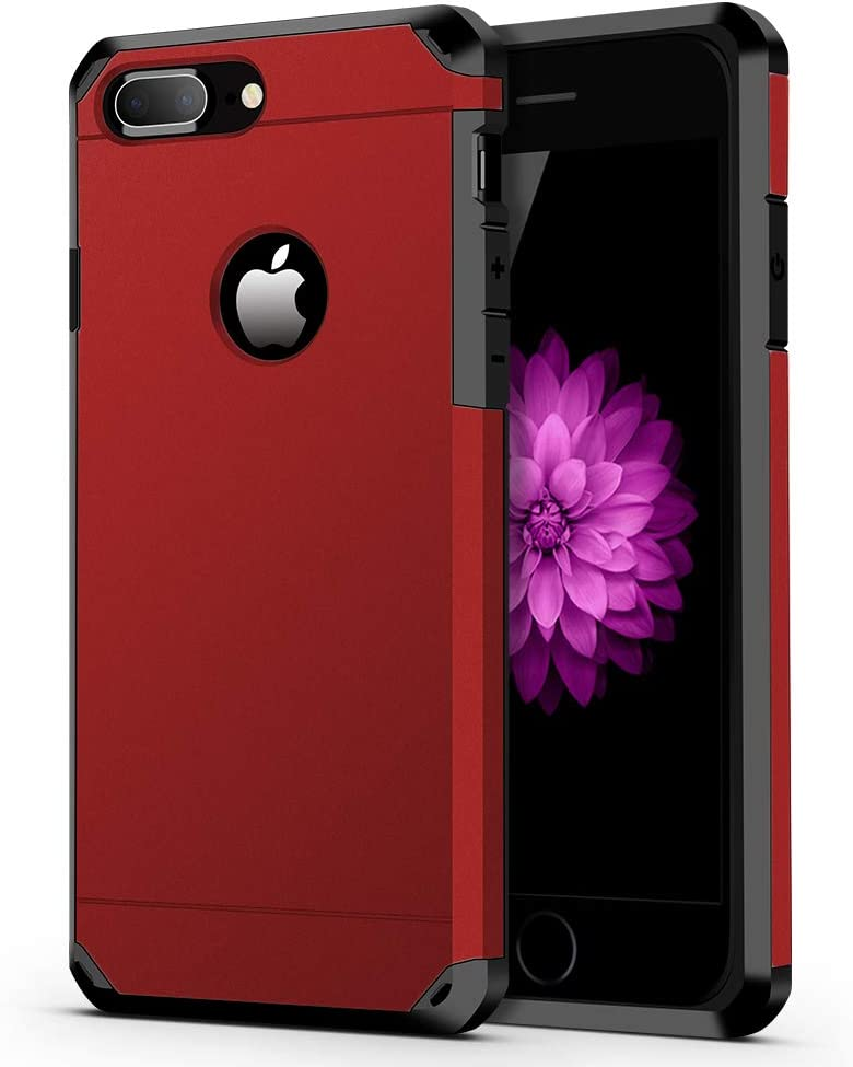ImpactStrong iPhone 8 Plus Case/iPhone 7 Plus Case Heavy Duty Dual Layer Protection Cover Heavy Duty Case Compatible with iPhone 7 Plus / 8 Plus - Red