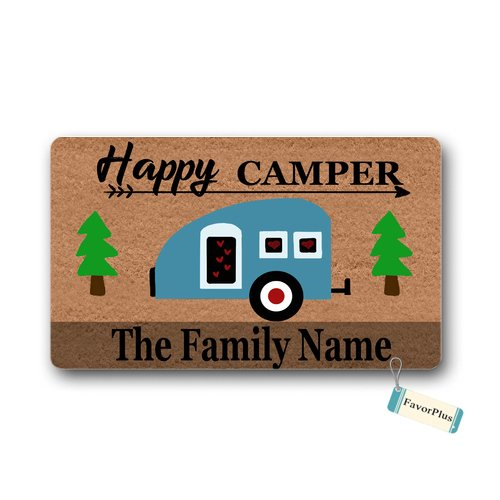 Personalized Happy Camper Doormat made our list of personalized camping gifts for people who camp in tents and those who have RV campers!