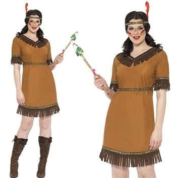 Para mujer indio Sqaw Wild West Pocahontas de disfraces traje 3 ...
