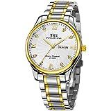 TSS Men's Quartz Ultrathin Two Tone Watch Stainless Steel Band T6011H1