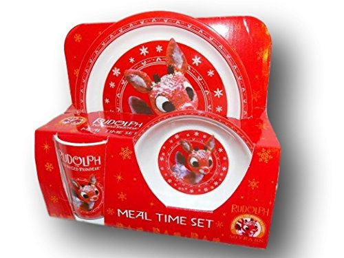 Rudolph the Red Nosed Reindeer Christmas Dinnerware Set - 3 piece Kids Set Plate Bowl and Cup by ()