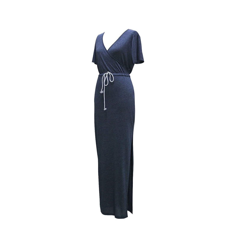 ipretty Damen Kleid Kurzarm V-Ausschnitt Sommerkleid Krawatte Taille Bleistiftrock Split Strandkleid S