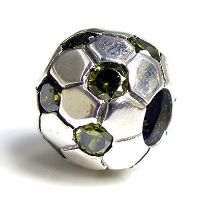 Abalorio de plata de ley 925 con diseño de balón de fútbol, color ...