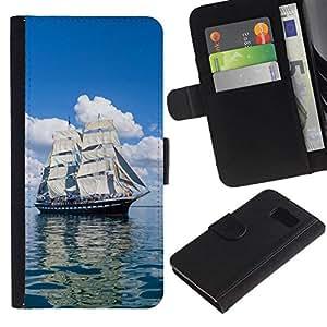 All Phone Most Case / Oferta Especial Cáscara Funda de cuero Monedero Cubierta de proteccion Caso / Wallet Case for Samsung Galaxy S6 // Vintage Skoonar Sail Boat