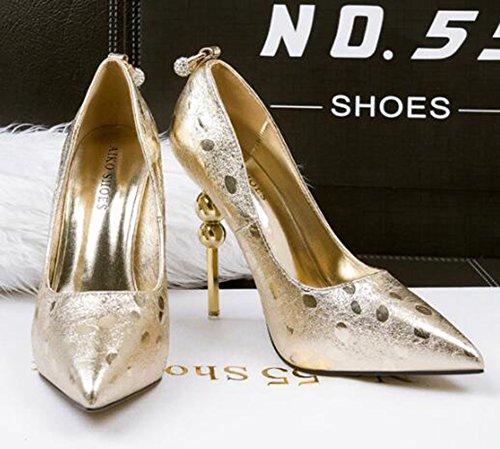 CHFSO Womens Elegant Stiletto Pointed Toe Low Top Slip On High Heel Platform Pumps Shoes Gold mRSNUZrbP