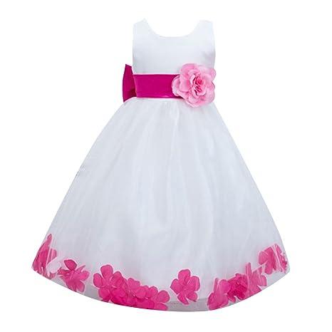 Ragazze Bambina Senza Maniche Principessa Vestiti Damigella Cerimonia Abiti  Pink Rose per 4-5 anni 2329a219888