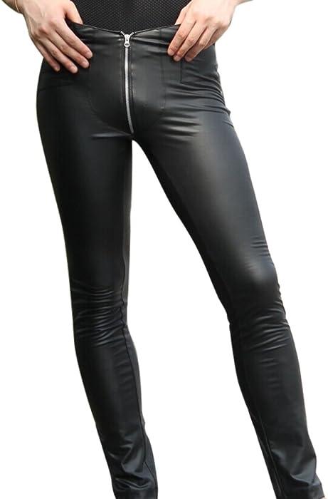 f808895a83ebf Amazon.com: LinvMe Men's Sexy Faux Leather Zipper Skinny Tight Pants ...