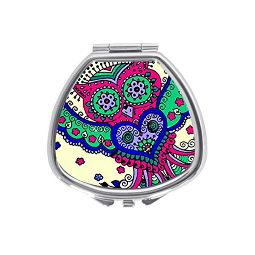 (VOLLET Sugar Skull Owl Creative Fan-Shaped Pill Case Pocket Box Stainless Steel Mirrored Locket Portable)