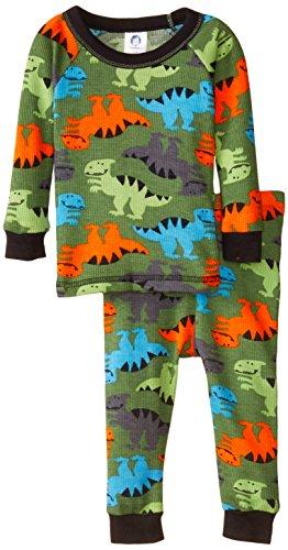 (Gerber Baby Boys' Dino Allover Print 2 Piece Thermal Pajamas, Dino Allover Print, 18 Months)