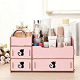 RunHigh Cute Cat Wooden Hollow DIY Desktop Storage Display Boxes Makeup Organizer Suit For Any Decor