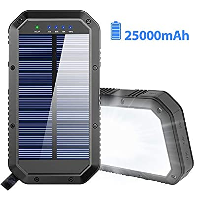 Solar Charger, 25000mAh Battery Solar Power Bank Portable Panel Charger with 36 LEDs and 3 USB Output Ports External Backup Battery for Camping Outdoor for iOS Android (Black)