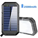 Solar Charger, 25000mAh Solar Power Bank Portable Panel Charger with 36 LEDs and 3 USB Output Ports External Backup Battery for Camping Outdoor for iOS Android (Black)