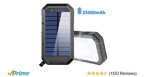 Solar Charger, 25000mAh Battery Solar Power Bank Portable Panel Charger with 36 LEDs and 3 USB Output Ports External Backup Battery for Camping ...