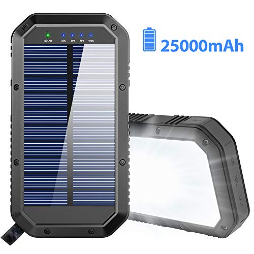 Solar Charger, 25000mAh Battery Solar Power Bank Portable Panel Charger with 36 LEDs and 3 USB Output Ports External Backup Battery for Camping Outdoor for iOS Android (Black) (Solar Usb Charger Portable)