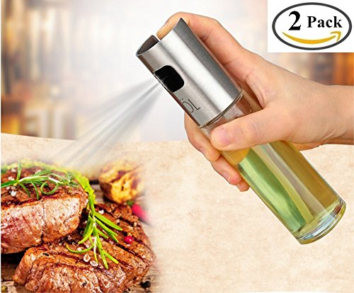 BoomYou 2 Pack Portable Cooking Spray Bottle Oil Balsamic Vinegar Soy Sauce Wine Spray Premium 304 Stainless Steel Grilling Oil Bottle 100ml for Cooking Salad Bread Baking Barbecue Injector