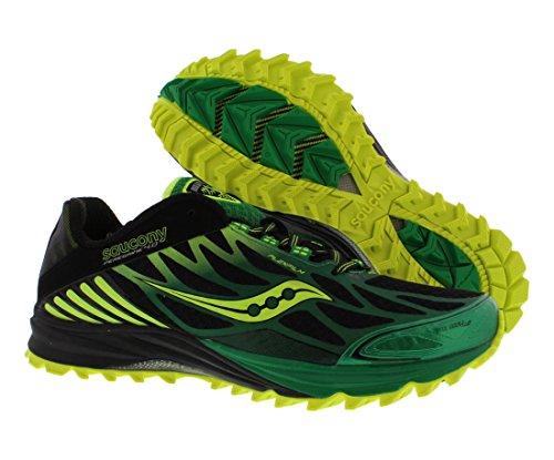 Saucony-Mens-Peregrine-4-Trail-Running-ShoeBlackGreenCitron14-M-US