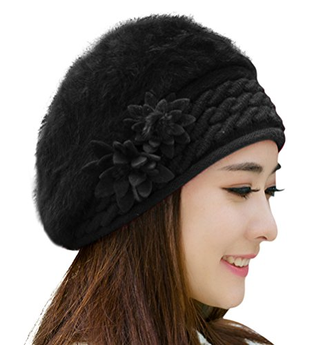 HINDAWI Beret Winter Hats for Women Knitting Crochet Snow Warm Slouchy Black Beanie Skull Cap (Beret Crochet New)