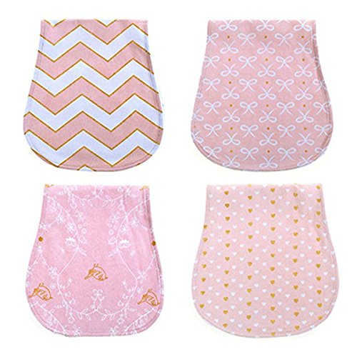 4 Pack Baby Burp Cloths for Baby Boy Girl,Triple Layer Cotton Burping Rags for Newborns (Style 1) by CAZZO