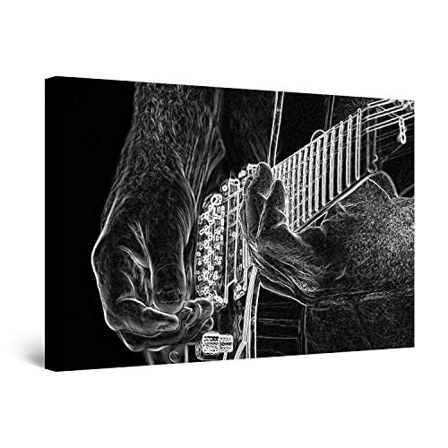 STARTONIGHT Canvas Wall Art - Black and White Guitar Music Abstract, Framed 24 x 36 Inches