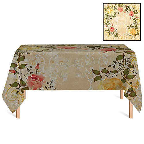 SATVSHOP Outdoor Tablecloth /60x84 Rectangular,Vintage Oval Shape Floral Crown with Leaves and Roses Over Damask Motif Shabby Boho Yellow Green Pink.for Wedding/Banquet/Restaurant.