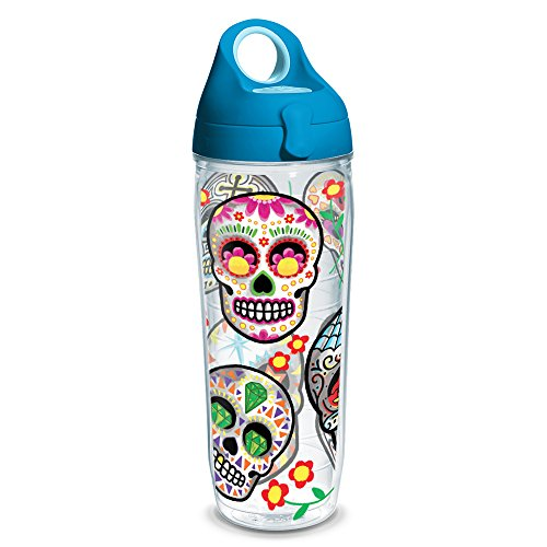 Tervis 1230808 Sugar Skulls Tumbler with Wrap and Turquoise Lid 24oz Water Bottle, Clear