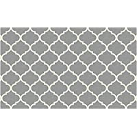 RUGGABLE Moroccan Trellis Light Grey Washable Indoor/Outdoor Stain Resistant 3x5 (36x60) Accent Rug 2pc Set (Cover Pad)