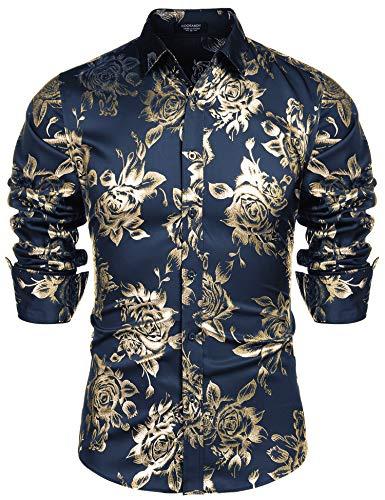 COOFANDY Men Fashion Hip Hop Luxury Design Flower Print Dress Prom Disco Shirt Navy Blue