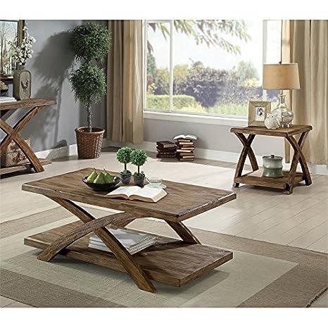 Amazon.com: Furniture of America Rustic 3 Piece Coffee Table ...