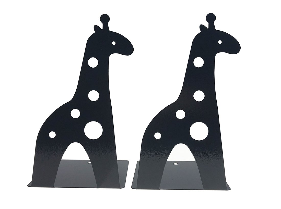 Arsdoll A Pair Of Cute Cartoon Giraffe Heavy Duty Nonskid Iron Metal Bookend Book Holder For Office School Library Home Study Decoration Gift (Black)