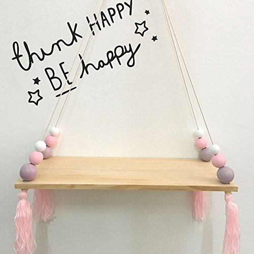 preliked Lovely Wall Rope Hanging Wooden Rack Bead Tassel Storage Shelf Home Kid's Room Decor by preliked (Image #3)