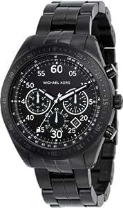 Michael Kors Fashion MK8139 - Reloj cronógrafo de cuarzo para hombre, correa de acero inoxidable chapado color negro (cronómetro)