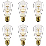 Kiven 3w LED Decorative Bulbs E26 110v Vintage Style Squirrel Cage Edison Light Bulb Prefer for Indoor Outdoor Pendant Light(package :6 Pcs) by Kiven