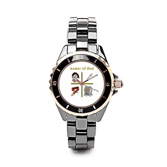 eleganceelegant marca relojes el cristianismo de cerámica reloj para mujer negro/oro las mujeres: Amazon.es: Relojes