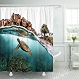Emvency Shower Curtain Curtainsblue Creatures Sea Turtle Majestically Swimming On Hawaii Coral Reef Green Africa Extra Long 72''X96'' Waterproof Decorative Bathroom Odorless Eco Friendly
