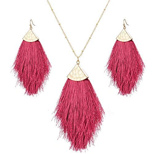Bohemian Feather Tassel Drop Earrings Boho Silky Thread Fringe Hook Earrings for Women (Rose Red(Set))