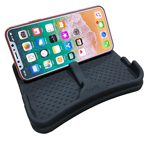 Universal Fit Cell Phone Stand, Flexible Silicone Dashboard Non-Slip Mat Pad, Car Mount Holder Cradle Dock for Cell Phone, Coins, Keys, MP3/4 Player, GPS - Skid Mount Dash