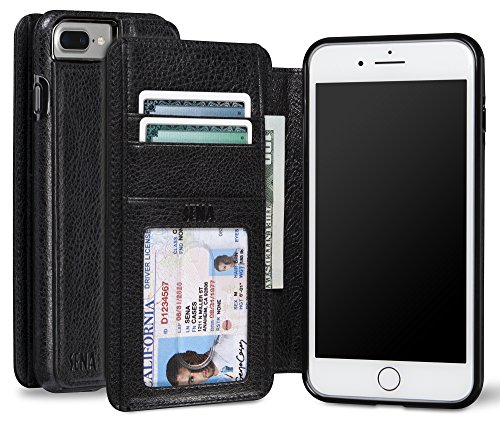 book, Drop safe leather wallet book case for the iPhone 8 Plus & 7 Plus - Black (Sena Leather Iphone Cases)