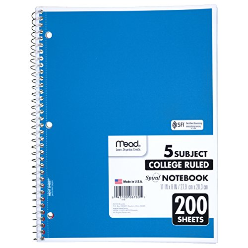 Mead Spiral Notebook, 5 Subject, College Ruled, 200 Sheets, 1 Notebook per Order, Assorted Colors - Color May Vary (06780)