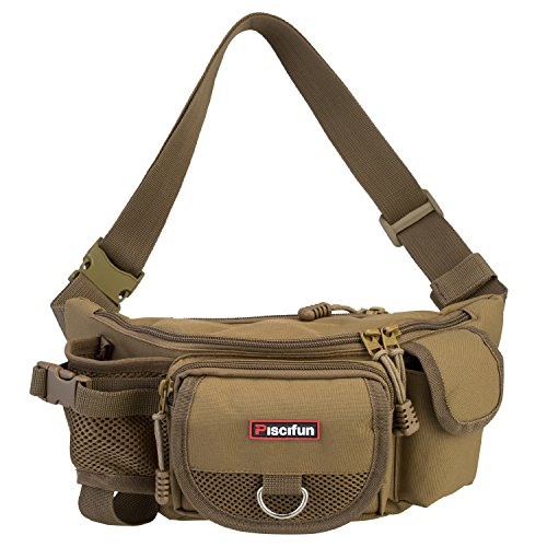 Piscifun Fishing Bag Portable Outdoor Fishing Tackle Bags Multiple Waist Bag Multi Functional Fanny Pack (Color Khaki)