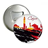 Egypt Pattern Morden City Muslim Pattern Round Bottle Opener Refrigerator Magnet Pins Badge Button Gift 3pcs