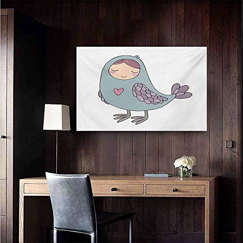 duommhome Kids Light Luxury American Oil Painting Russian Folklore and Mythology Childish Sirin Bird Character with Pink Heart Cartoon Home and Everything 35