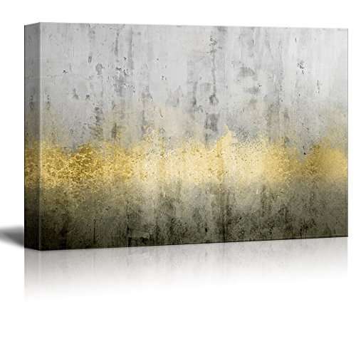 wall26 Canvas Print Wall Art - Abstract Grunge Wall with Golden Paints - Gallery Wrap Modern Home Decor | Ready to Hang - 32