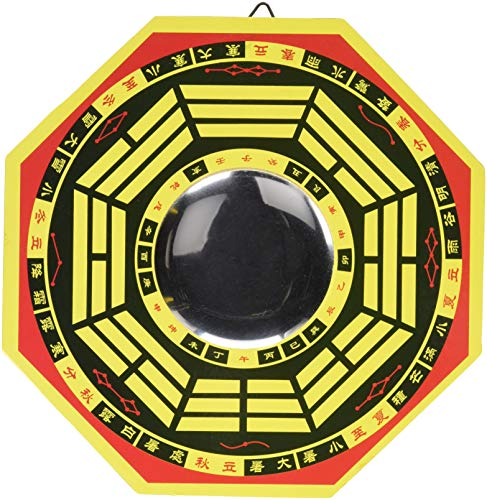 StealStreet 42422 42422 8 inch Concave Ancient Chinese Baguio with Mirror Wall Decor, Yellow (Wall Chinese Plaque)