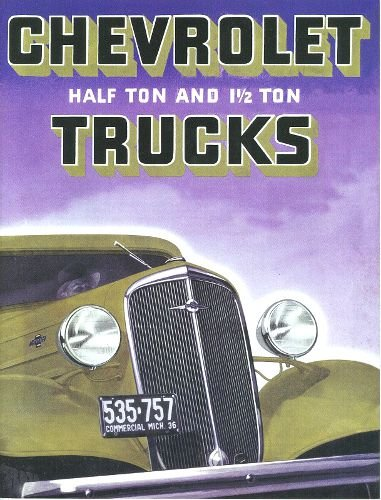 1936 CHEVROLET TRUCK & PICKUP DEALERSHIP SALES BROCHURE - ADVERTISMENT - OPTIONS - ACCESSORIES - Includes; PICK-UP, STAKE, SEDAN DELIVERY, PANEL, HALKF-TON CANOPY EXPRESS, CAB-OVER, CHASSIS & CAB, CARRYALL SUBURBAN CHEVY 36