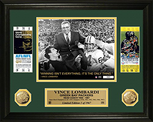 NFL Green Bay Packers Vince Lombardi Super Bowl Ticket Photo Minted Coin, 24'' x 21'' x 4'', Gold by The Highland Mint