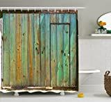 Ambesonne Vintage Shower Curtain, Rustic Old Wood Gate Dated Tuscany House Entrance with Antique Texture Photo, Fabric Bathroom Decor Set with Hooks, 70 Inches, Mint Brown