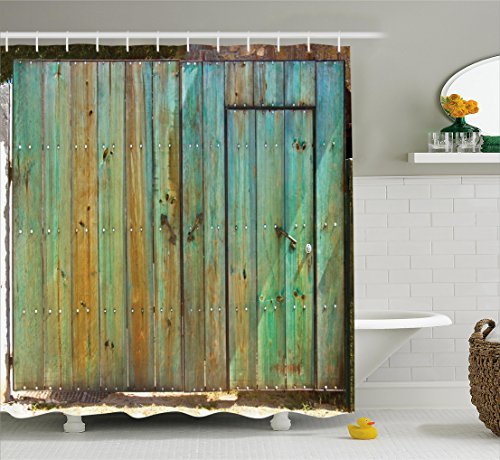 Old Gate - Ambesonne Vintage Shower Curtain, Rustic Old Wood Gate Dated Tuscany House Entrance with Antique Texture Photo, Fabric Bathroom Decor Set with Hooks, 75 Inches Long, Mint Brown