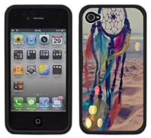 Rainbow Dream Catcher Handmade iPhone 4 4S Black Hard Plastic Case